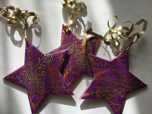 Christmas ornaments, decorations, stars, set of 3, purple, gold, silver, sparkly