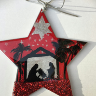 Christmas ornament, star, Noel, red , black and silver