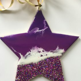 Christmas ornament, abstract, ocean, decoration, star, purple