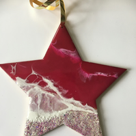 Christmas ornament, abstract, ocean, decoration, star, magenta, pearlescent