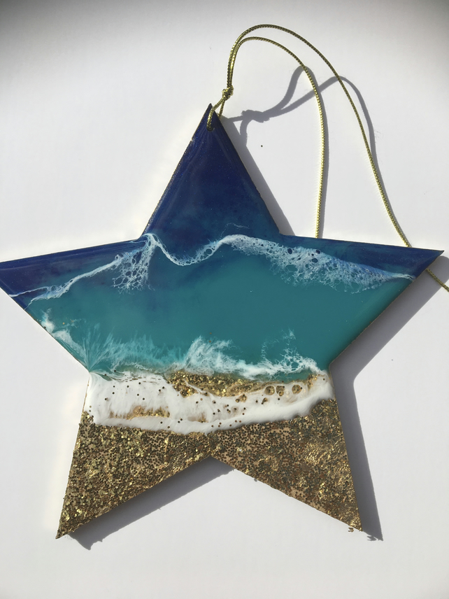 Christmas ornament, abstract, ocean, decoration , star, blue, turquoise, gold
