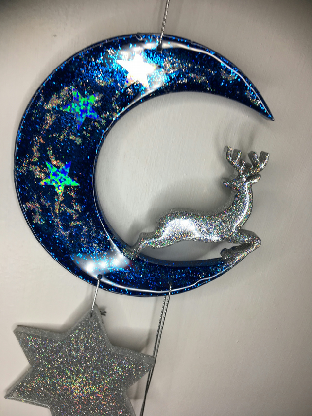 Resin Crescent, reindeer, stars, sparkly, blue, holographic silver, wall hanging