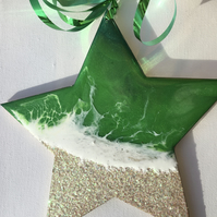 Christmas decoration, ornament, coastal, star, emerald green , pearlescent