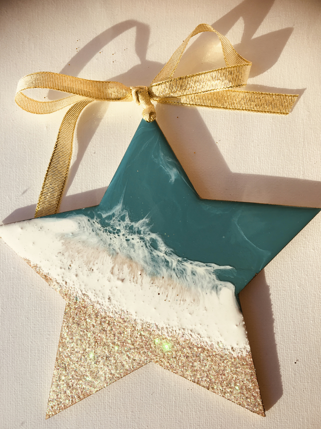 Christmas decoration, ornament, abstract, coastal, star, turquoise, pearlescent