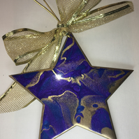 Christmas decoration, abstract, star, ornament , blue, purple, gold