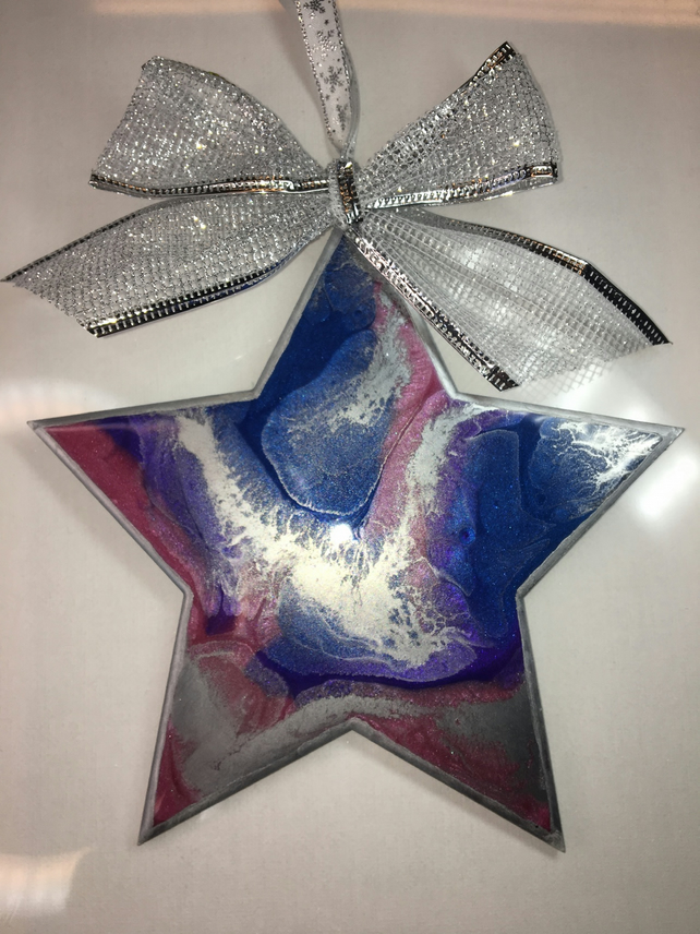 Christmas decoration, abstract, star,  blue, purple, pink, silver