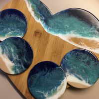 Heart shaped serving board, ocean, resin, coasters set