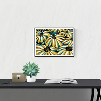 Rudbeckia Flower Painting Print - A4 Signed