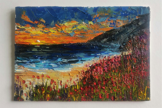 Poppies On The Coast Oil Painting