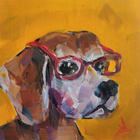 Beagle With Glasses Oil Painting