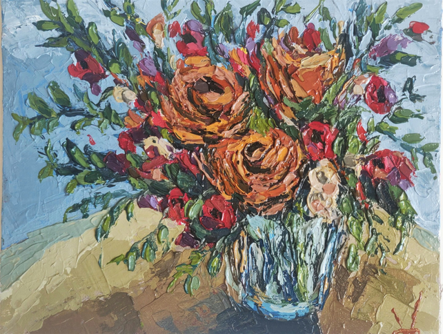 Orange & Red Roses Painting