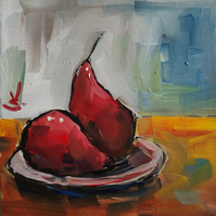 Poached Pears Oil Painting Kitchen Decor