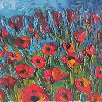 Impressionist Red Poppies Painting