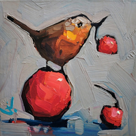 Robin and Fruits Oil Painting