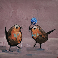 Two Robins Oil Painting