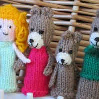 Knitted Finger puppets - Goldilocks and Three Bears