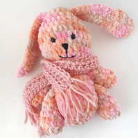Crochet amigurumi pink bunny rabbit with removable scarf