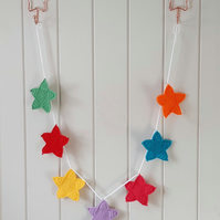 Christmas Crochet Rainbow Star Garland