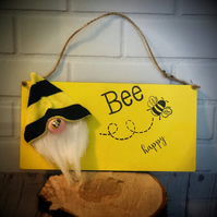 Bee Happy Wooden Plaque