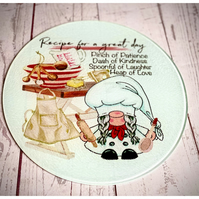 Recipe For a great Day Gnome Glass Chopping Board
