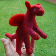 Needle felted dragon, red tones, winged dragon,