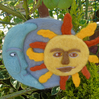 Sun and Moon textile wall plaque - needle felted wall hanging, Celestial Folk ar
