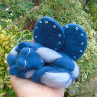 Needle felted sleeping baby dragon, winged dragon, blue and grey