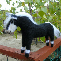 Needle felt pony, horse, animal wool sculpture