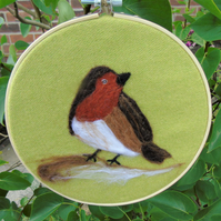 Original Robin wool ar picture, embroidery hoop frame, wool fabric, needle felt