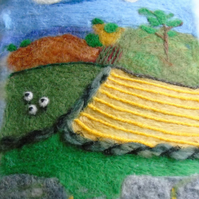 Unframed Needle felt picture countryside scene with sheep and dry stone wall