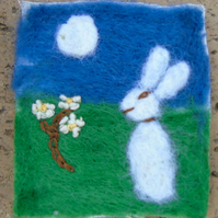 needle felt hare and moon picture,