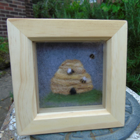 Needle felt bee hive and bees picture in small  box frame