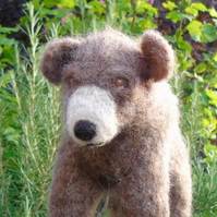 Needle felt brown bear
