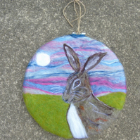 Hare wool art picture, Moon hare embroidery hoop frame, wool fabric, needle felt