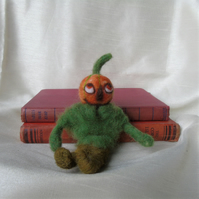 Needle felt pumpkin headed scarecrow, Halloween figure, Jack o Lantern