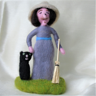 Needle felt collectable doll, hedge witch, cottage witch, shelf doll,