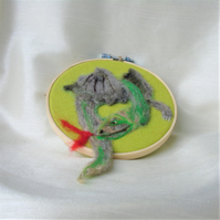 Fantasy Dragon, wool art, embroidery hoop frame, wool fabric, needle felt