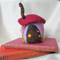 Felted fairy house, mushroom, gnome home, fantasy cottage, Pin cushion