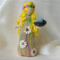 Needle felt doll - Spring with nest and eggs
