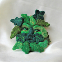 Green Man - Needle felt wall art