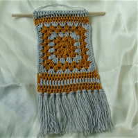 Boho crochet wall hanging - mustard and grey