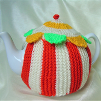 Hand knitted Tea Cosy - Country Fair Tent with bunting to fit a large teapot