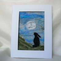 needle felt hare and moon picture, wool picture 6 x 8 ins