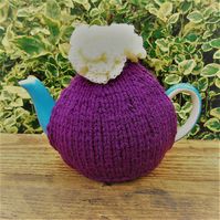 Hand knitted tea cosy - Plum with lemon roses - to fit a small  2 - 4 cup teapot