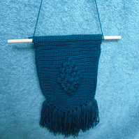 Crochet wall hanging with tassels - Teal