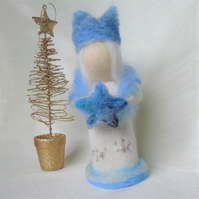 Winter Snow Queen, needlefelt Christmas decoration, snow flakes,star