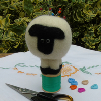 sheep pincushion -  needle felt sheep on vintage cotton reel