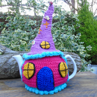 Crochet Fairy cottage tea cosy, colourful tea cosy for a large teapot