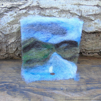 Needle felted picture - Running from The Storm'  4 x 3.75 ins
