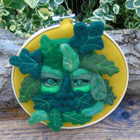 Green Man - Needle felt wall art needle felted face